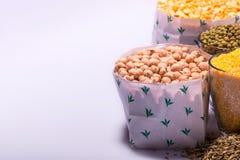 Composizione dei vetri con i cereali Fotografia Stock