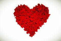 Composizione del biglietto di S. Valentino dei cuori con fondo bianco Fotografie Stock Libere da Diritti