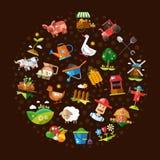 Composizione del cerchio dell'azienda agricola piana moderna di progettazione illustrazione vettoriale