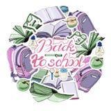 Composizione del cerchio di inchiostro disegnato a mano e dello schizzo colorato con i libri e gli elementi della scuola Autoades royalty illustrazione gratis