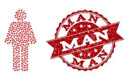 Composizione del cuore di amore dell'icona dell'uomo e della filigrana di lerciume royalty illustrazione gratis