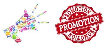 Composizione del megafono di promozione del mosaico e del bollo di emergenza da vendere illustrazione di stock