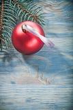 Composizione della bagattella rossa del ramo del pino sul celebratio del bordo di legno Fotografie Stock