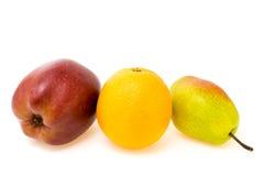 Composizione della frutta della mela con l'arancia e la pera Immagini Stock
