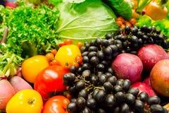 Composizione della frutta e del fondo delle verdure Immagini Stock Libere da Diritti