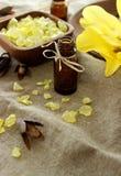 Composizione della stazione termale della bottiglia, del sale da bagno e del fiore Immagini Stock