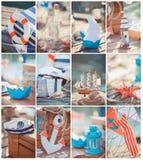 Composizione delle barche e delle attrezzature nautiche. Decorazione di tema del mare Fotografie Stock