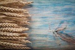 Composizione delle orecchie dorate della segale del grano sullo spazio della copia del bordo di legno Fotografia Stock