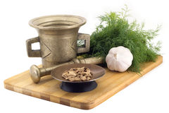 Composizione delle spezie, cardamomi del Bengala, aneto, aglio, smerigliatrice d'annata della spezia isolata su fondo bianco Immagine Stock