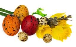 Composizione delle uova di Pasqua dipinte a mano, fiori, gattini, daffo Fotografia Stock Libera da Diritti