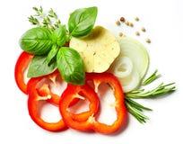 Composizione delle verdure, delle erbe e delle spezie Immagini Stock