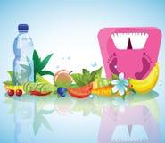 Composizione di alimento e di pesi sani Fotografie Stock