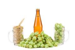 Composizione di birra con le azione della tassa Immagini Stock