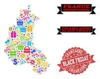 Composizione di Black Friday della mappa di mosaico di Champagne Province e della guarnizione di lerciume royalty illustrazione gratis