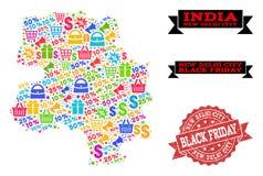 Composizione di Black Friday della mappa di mosaico della città di Nuova Delhi e della guarnizione di emergenza illustrazione vettoriale