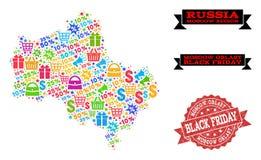 Composizione di Black Friday della mappa di mosaico della regione di Mosca e del bollo di emergenza illustrazione vettoriale