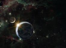 Composizione di fantasia del pianeta Terra e della luna Fotografia Stock Libera da Diritti