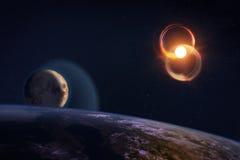 Composizione di fantasia del pianeta Terra e della luna Fotografia Stock