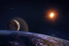 Composizione di fantasia del pianeta Terra e della luna Fotografie Stock Libere da Diritti