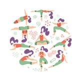 Composizione di forma rotonda delle donne di yoga Stile di vita sano Metta dell'illustrazione con la classe di yoga su fondo bian illustrazione vettoriale