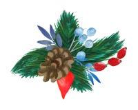 Composizione di inverno dei rami dell'abete, coni, bacche rosse, foglie illustrazione vettoriale