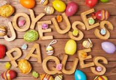 Composizione di legno nella lettera di Pasqua immagini stock libere da diritti