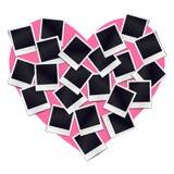 Composizione di molti telai d'annata in bianco della foto su cuore rosa Fotografia Stock Libera da Diritti