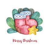 Composizione di Natale dell'acquerello degli stivali di Natale, di una stella gialla e di un fogliame verde royalty illustrazione gratis
