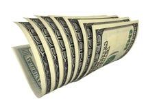 Composizione di parecchie banconote dei dollari isolate Immagini Stock