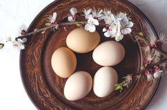 Composizione di Pasqua delle uova su un piatto e sui ramoscelli dell'argilla con la fioritura immagine stock