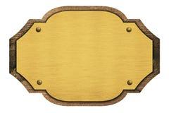 Composizione di placca dorata, targhetta, di legno immagine stock