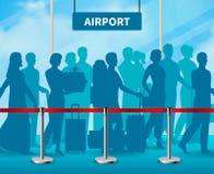 Composizione di recinzione temporanea nell'aeroporto della gente della barriera illustrazione vettoriale