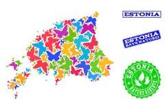 Composizione di risparmio della natura della mappa dell'Estonia con le farfalle ed i timbri di gomma illustrazione di stock