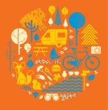 Composizione di tema di campeggio illustrazione vettoriale