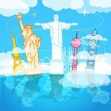 Composizione di viaggio in vacanza con le viste del mondo Immagini Stock