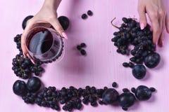 Composizione di vino, dell'uva e delle prugne Fotografia Stock Libera da Diritti