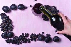Composizione di vino, dell'uva e delle prugne Fotografia Stock