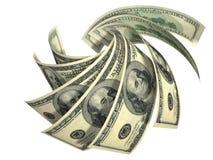 Composizione dinamica di parecchie banconote dei dollari Immagini Stock
