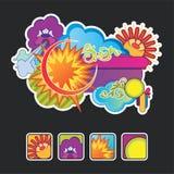 Composizione ed icone dal sole Immagine Stock