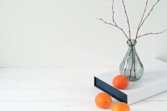 Composizione elegante minima con i mandarini ed il vaso Immagini Stock Libere da Diritti