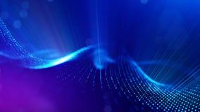 Composizione in fantascienza con le particelle luminose d'oscillazione  stock footage