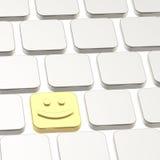 Composizione felice nel bottone della tastiera di sorriso Immagini Stock Libere da Diritti