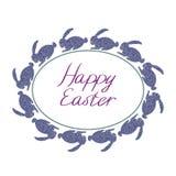 Composizione felice in Pasqua con i conigli blu, la struttura ovale ed il testo con fondo bianco illustrazione di stock