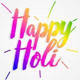 Composizione felice in tipografia di Holi isolata su fondo bianco Fotografia Stock Libera da Diritti