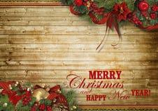 Composizione in feste di Natale su fondo di legno con lo spazio della copia per il vostro testo fotografie stock