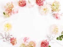 Composizione festiva nel fiore sui precedenti bianchi Vista ambientale fotografie stock