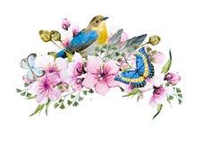 Composizione floreale nell'acquerello Fotografie Stock Libere da Diritti