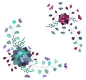 Composizione floreale in vettore, insieme, raccolta Succulenti e foglie d'avanguardia illustrazione vettoriale