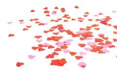 Composizione a forma di nei coriandoli del cuore Fotografia Stock