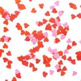 Composizione a forma di nei coriandoli del cuore Fotografie Stock